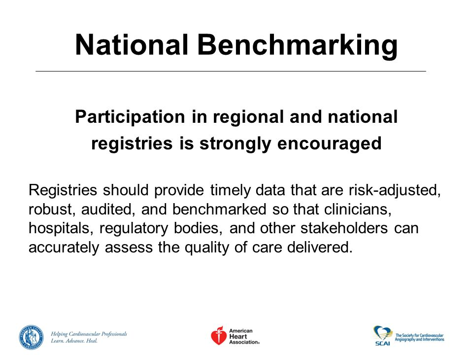 National Benchmarking Participation in regional and national registries is strongly encouraged Registries should provide timely data that are risk-adj