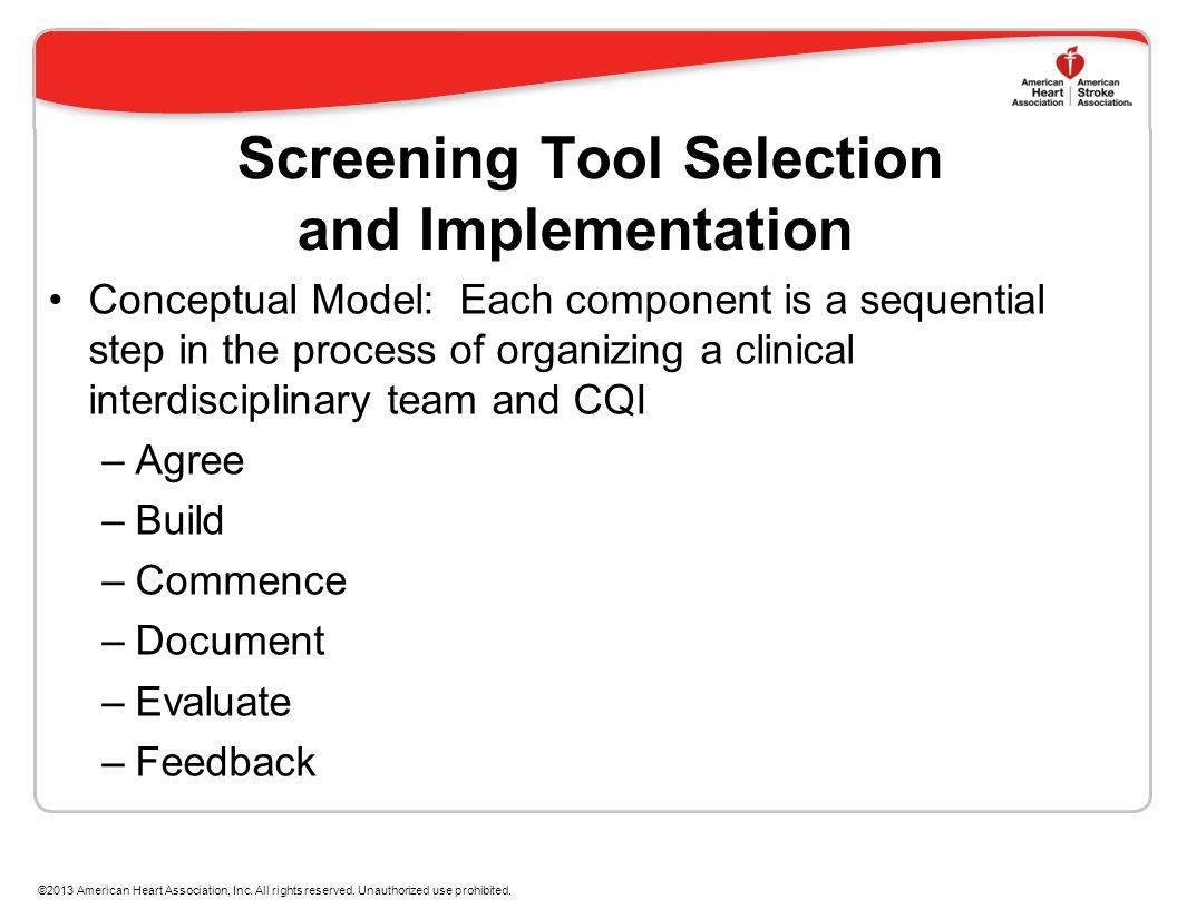 Screening Tool Selection and Implementation Conceptual Model: Each component is a sequential step in the process of organizing a clinical interdiscipl