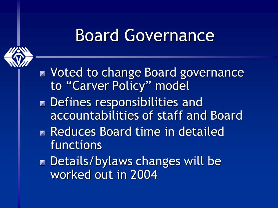 Board Governance Voted to change Board governance to Carver Policy model Defines responsibilities and accountabilities of staff and Board Reduces Board time in detailed functions Details/bylaws changes will be worked out in 2004
