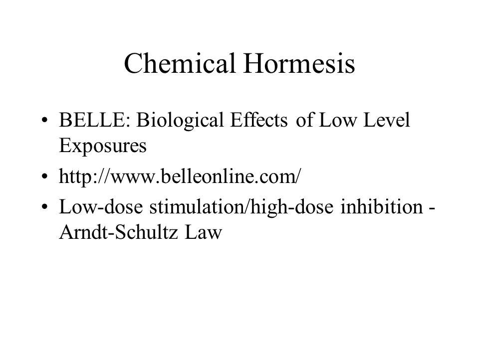 Chemical Hormesis BELLE: Biological Effects of Low Level Exposures http://www.belleonline.com/ Low-dose stimulation/high-dose inhibition - Arndt-Schul