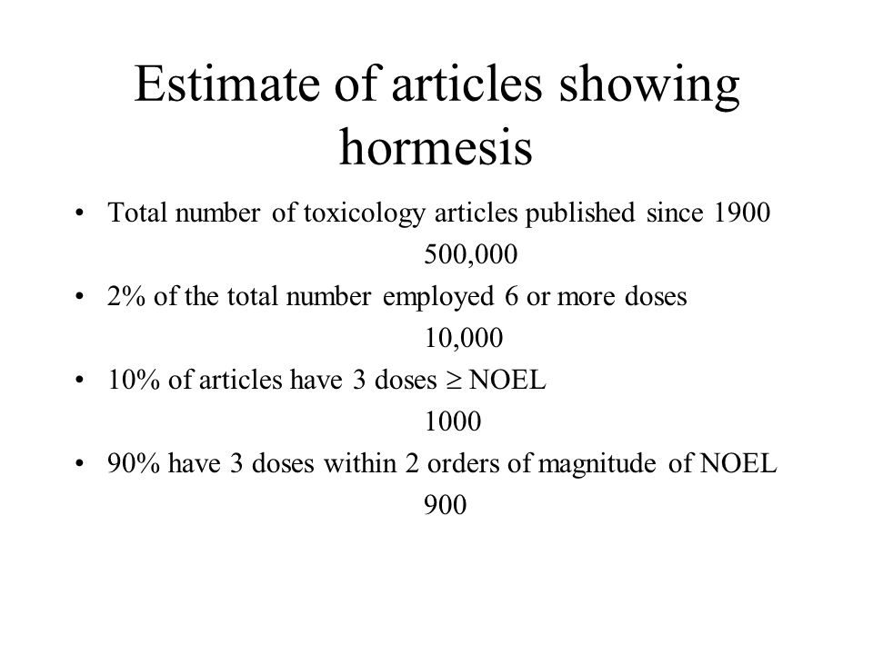 Estimate of articles showing hormesis Total number of toxicology articles published since 1900 500,000 2% of the total number employed 6 or more doses