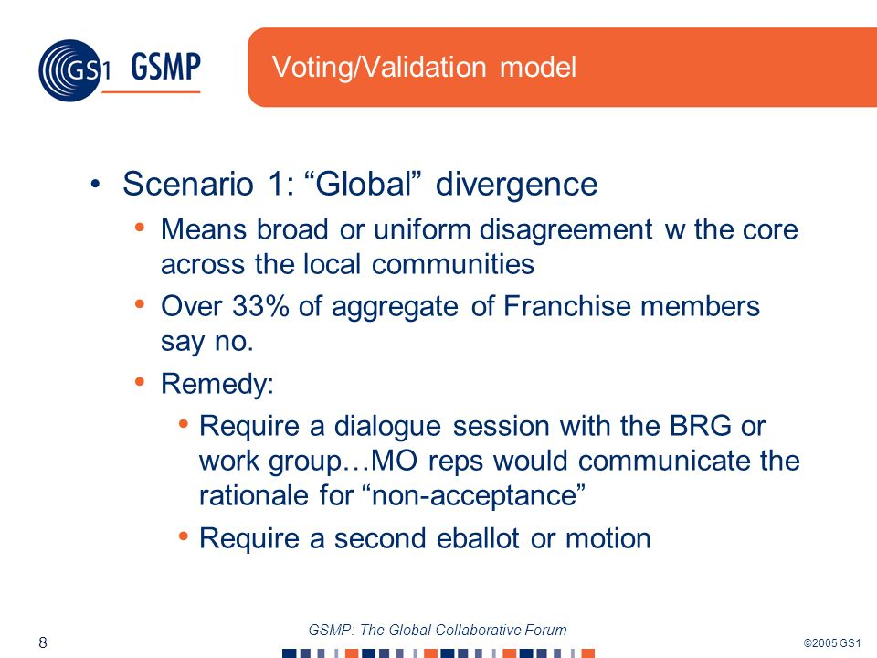 ©2005 GS1 8 GSMP: The Global Collaborative Forum Voting/Validation model Scenario 1: Global divergence Means broad or uniform disagreement w the core across the local communities Over 33% of aggregate of Franchise members say no.