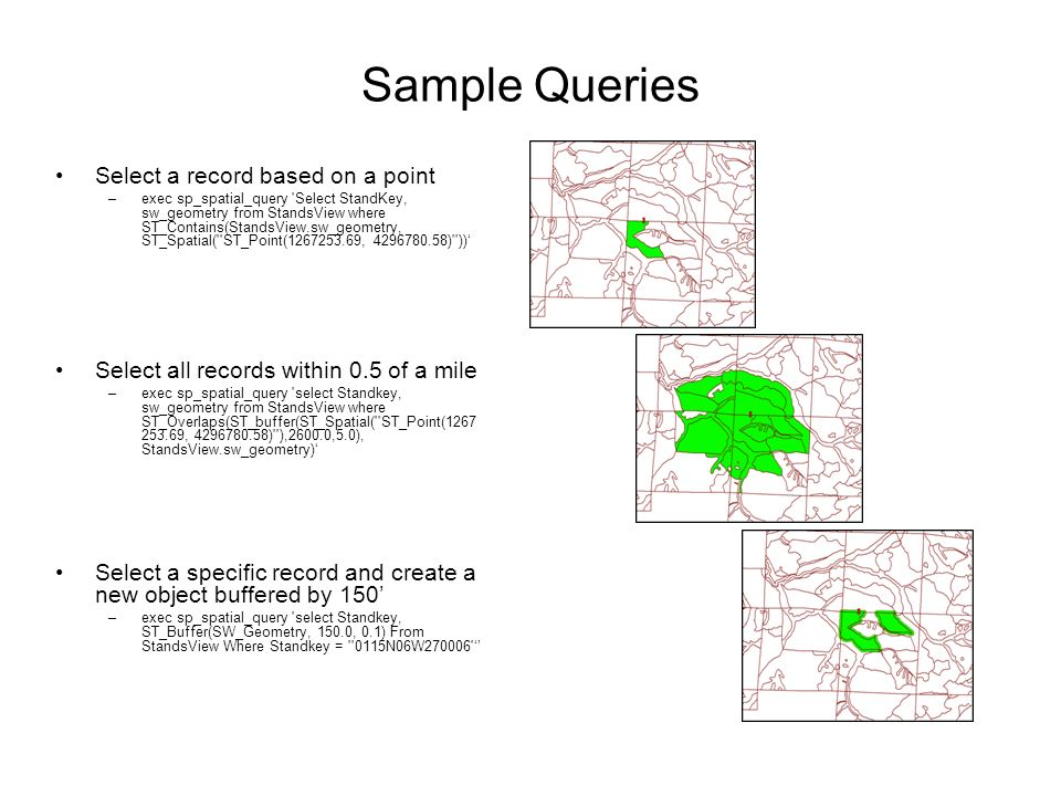 Sample Queries Select a record based on a point –exec sp_spatial_query Select StandKey, sw_geometry from StandsView where ST_Contains(StandsView.sw_geometry, ST_Spatial( ST_Point( , ) )) Select all records within 0.5 of a mile –exec sp_spatial_query select Standkey, sw_geometry from StandsView where ST_Overlaps(ST_buffer(ST_Spatial( ST_Point( , ) ),2600.0,5.0), StandsView.sw_geometry) Select a specific record and create a new object buffered by 150 –exec sp_spatial_query select Standkey, ST_Buffer(SW_Geometry, 150.0, 0.1) From StandsView Where Standkey = 0115N06W