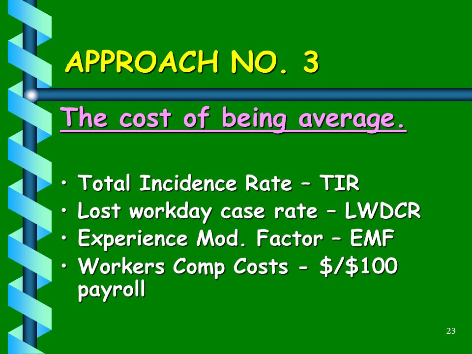 23 APPROACH NO. 3 The cost of being average. Total Incidence Rate – TIRTotal Incidence Rate – TIR Lost workday case rate – LWDCRLost workday case rate