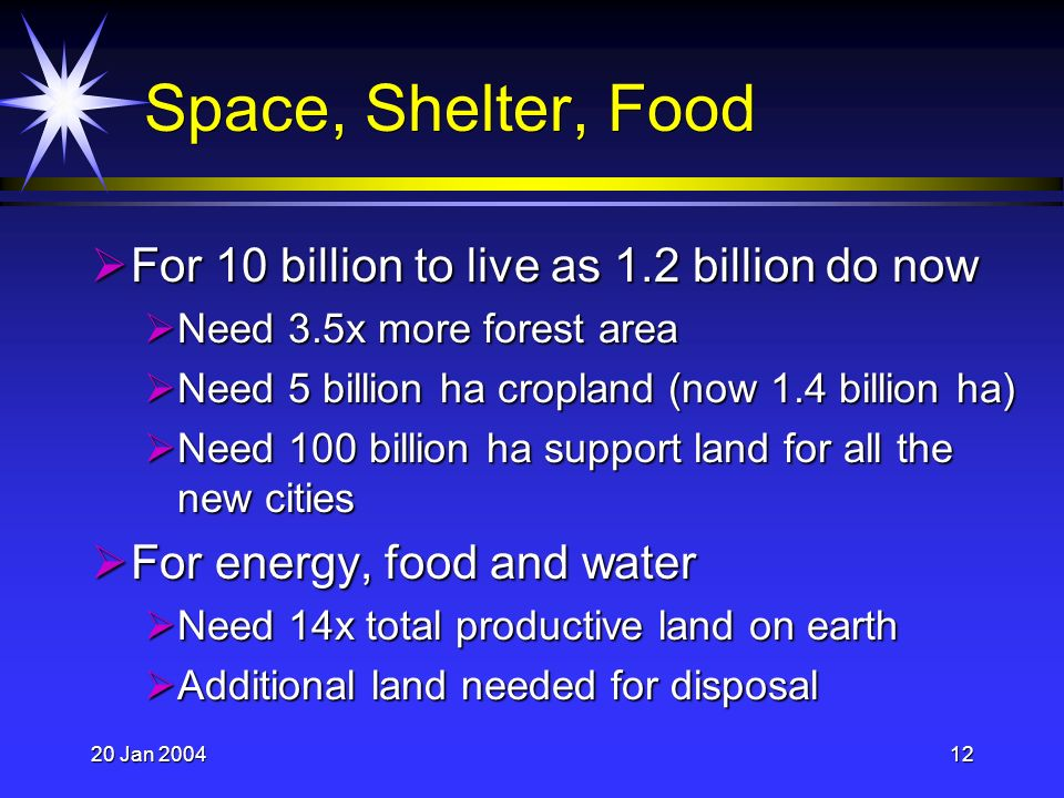 20 Jan 200412 Space, Shelter, Food For 10 billion to live as 1.2 billion do now For 10 billion to live as 1.2 billion do now Need 3.5x more forest area Need 3.5x more forest area Need 5 billion ha cropland (now 1.4 billion ha) Need 5 billion ha cropland (now 1.4 billion ha) Need 100 billion ha support land for all the new cities Need 100 billion ha support land for all the new cities For energy, food and water For energy, food and water Need 14x total productive land on earth Need 14x total productive land on earth Additional land needed for disposal Additional land needed for disposal