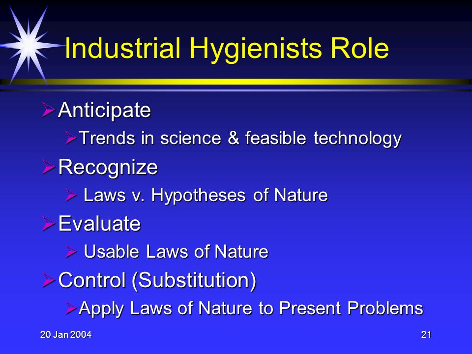 20 Jan 200421 Industrial Hygienists Role Anticipate Anticipate Trends in science & feasible technology Trends in science & feasible technology Recognize Recognize Laws v.