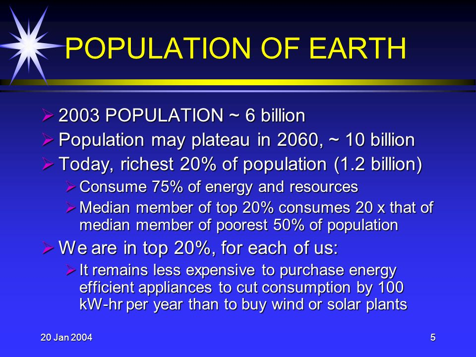 20 Jan 20045 POPULATION OF EARTH 2003 POPULATION ~ 6 billion 2003 POPULATION ~ 6 billion Population may plateau in 2060, ~ 10 billion Population may plateau in 2060, ~ 10 billion Today, richest 20% of population (1.2 billion) Today, richest 20% of population (1.2 billion) Consume 75% of energy and resources Consume 75% of energy and resources Median member of top 20% consumes 20 x that of median member of poorest 50% of population Median member of top 20% consumes 20 x that of median member of poorest 50% of population We are in top 20%, for each of us: We are in top 20%, for each of us: It remains less expensive to purchase energy efficient appliances to cut consumption by 100 kW-hr per year than to buy wind or solar plants It remains less expensive to purchase energy efficient appliances to cut consumption by 100 kW-hr per year than to buy wind or solar plants