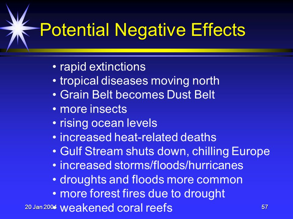 20 Jan 200457 Potential Negative Effects rapid extinctions tropical diseases moving north Grain Belt becomes Dust Belt more insects rising ocean levels increased heat-related deaths Gulf Stream shuts down, chilling Europe increased storms/floods/hurricanes droughts and floods more common more forest fires due to drought weakened coral reefs