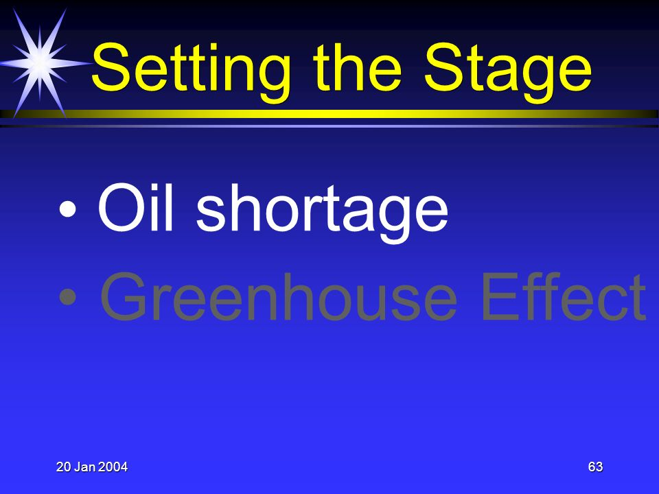 20 Jan 200463 Setting the Stage Oil shortage Greenhouse Effect