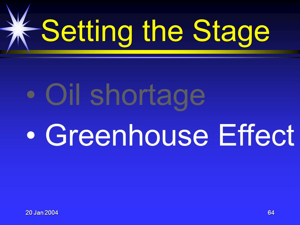 20 Jan 200464 Oil shortage Greenhouse Effect Setting the Stage