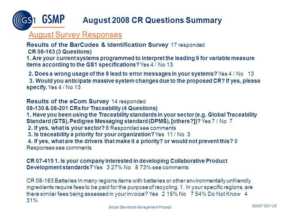 Global Standards Management Process ©2007 GS1 US August 2008 CR Questions Summary August Survey Responses Results of the BarCodes & Identification Sur
