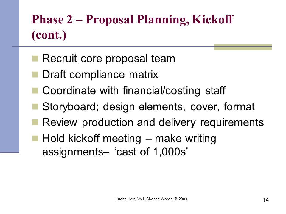 Judith Herr, Well Chosen Words, © 2003 14 Phase 2 – Proposal Planning, Kickoff (cont.) Recruit core proposal team Draft compliance matrix Coordinate w