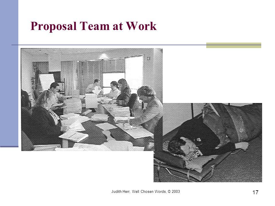 Judith Herr, Well Chosen Words, © 2003 17 Proposal Team at Work