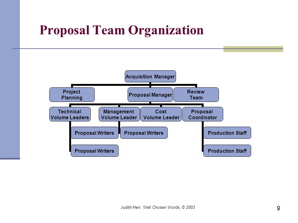Judith Herr, Well Chosen Words, © 2003 9 Acquisition Manager Project Planning Proposal Manager Technical Volume Leaders Proposal Writers Management Vo