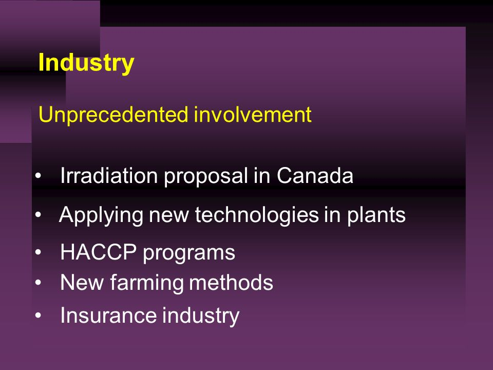 Industry Unprecedented involvement Irradiation proposal in Canada Applying new technologies in plants HACCP programs New farming methods Insurance industry