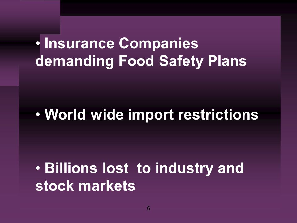 6 Insurance Companies demanding Food Safety Plans World wide import restrictions Billions lost to industry and stock markets