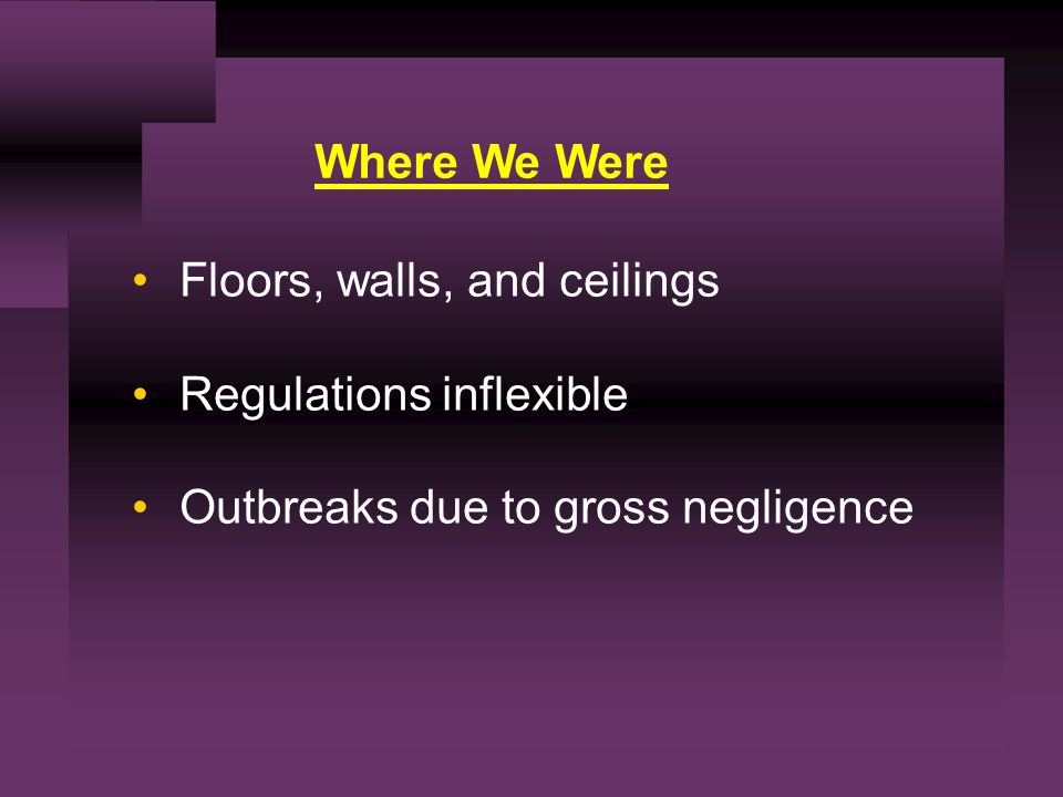 Where We Were Floors, walls, and ceilings Regulations inflexible Outbreaks due to gross negligence