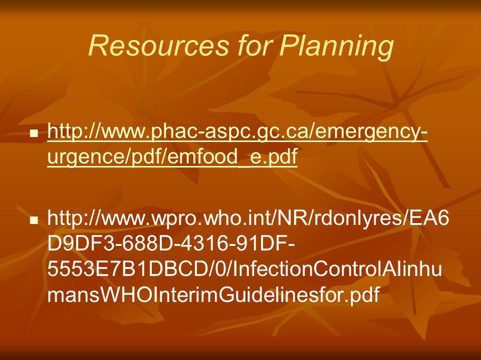 Resources for Planning http://www.phac-aspc.gc.ca/emergency- urgence/pdf/emfood_e.pdf http://www.phac-aspc.gc.ca/emergency- urgence/pdf/emfood_e.pdf http://www.wpro.who.int/NR/rdonlyres/EA6 D9DF3-688D-4316-91DF- 5553E7B1DBCD/0/InfectionControlAIinhu mansWHOInterimGuidelinesfor.pdf