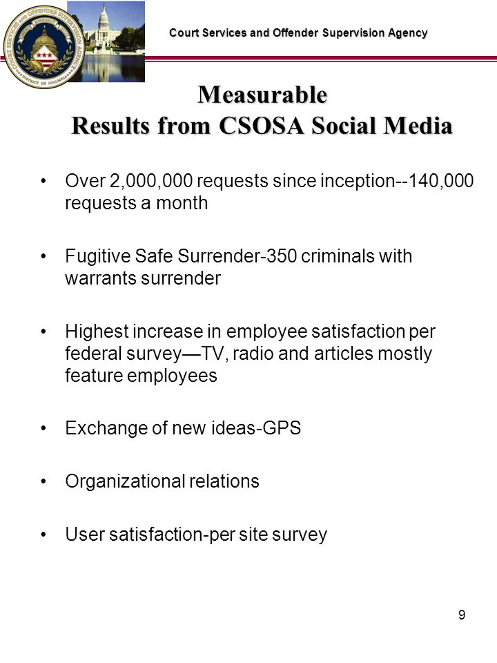 Court Services and Offender Supervision Agency 9 Measurable Results from CSOSA Social Media Over 2,000,000 requests since inception--140,000 requests a month Fugitive Safe Surrender-350 criminals with warrants surrender Highest increase in employee satisfaction per federal surveyTV, radio and articles mostly feature employees Exchange of new ideas-GPS Organizational relations User satisfaction-per site survey