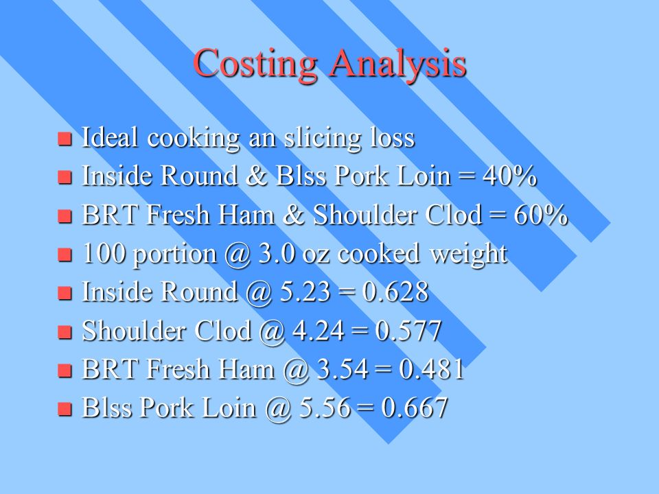 Costing Analysis Ideal cooking an slicing loss Ideal cooking an slicing loss Inside Round & Blss Pork Loin = 40% Inside Round & Blss Pork Loin = 40% BRT Fresh Ham & Shoulder Clod = 60% BRT Fresh Ham & Shoulder Clod = 60% oz cooked weight oz cooked weight Inside 5.23 = Inside 5.23 = Shoulder 4.24 = Shoulder 4.24 = BRT Fresh 3.54 = BRT Fresh 3.54 = Blss Pork 5.56 = Blss Pork 5.56 = 0.667
