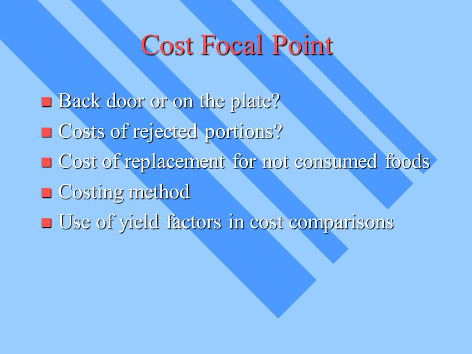 Cost Focal Point Back door or on the plate. Back door or on the plate.