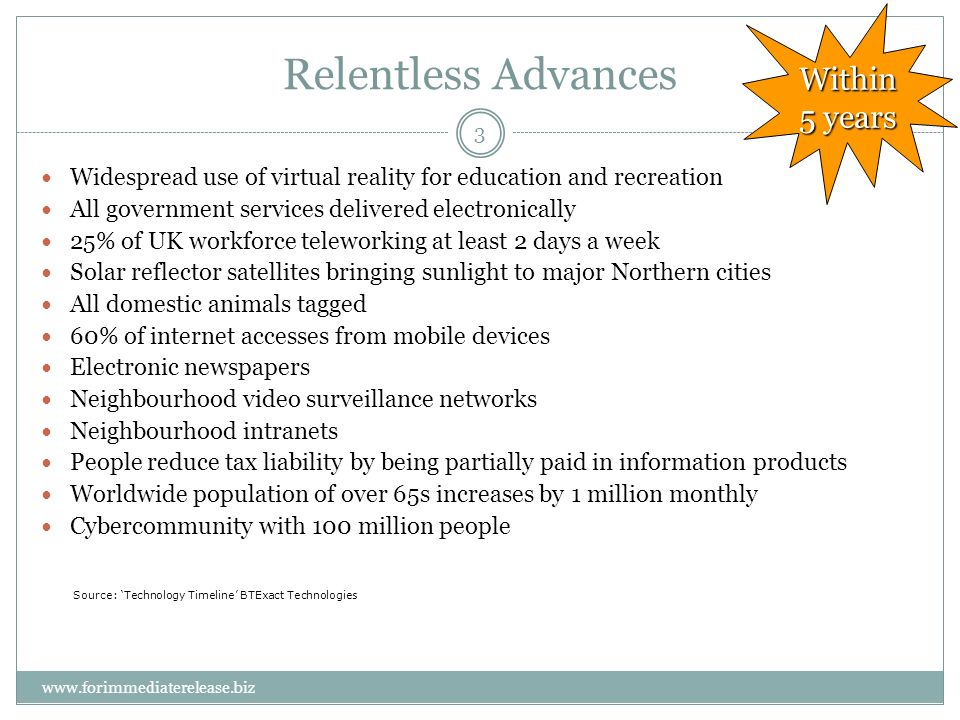 3 Relentless Advances Widespread use of virtual reality for education and recreation All government services delivered electronically 25% of UK workforce teleworking at least 2 days a week Solar reflector satellites bringing sunlight to major Northern cities All domestic animals tagged 60% of internet accesses from mobile devices Electronic newspapers Neighbourhood video surveillance networks Neighbourhood intranets People reduce tax liability by being partially paid in information products Worldwide population of over 65s increases by 1 million monthly Cybercommunity with 100 million people Within 5 years Source: Technology Timeline BTExact Technologies