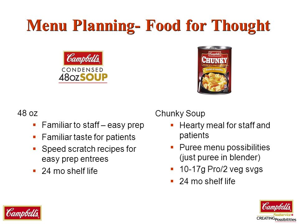 Menu Planning- Food for Thought 48 oz Familiar to staff – easy prep Familiar taste for patients Speed scratch recipes for easy prep entrees 24 mo shelf life Chunky Soup Hearty meal for staff and patients Puree menu possibilities (just puree in blender) 10-17g Pro/2 veg svgs 24 mo shelf life