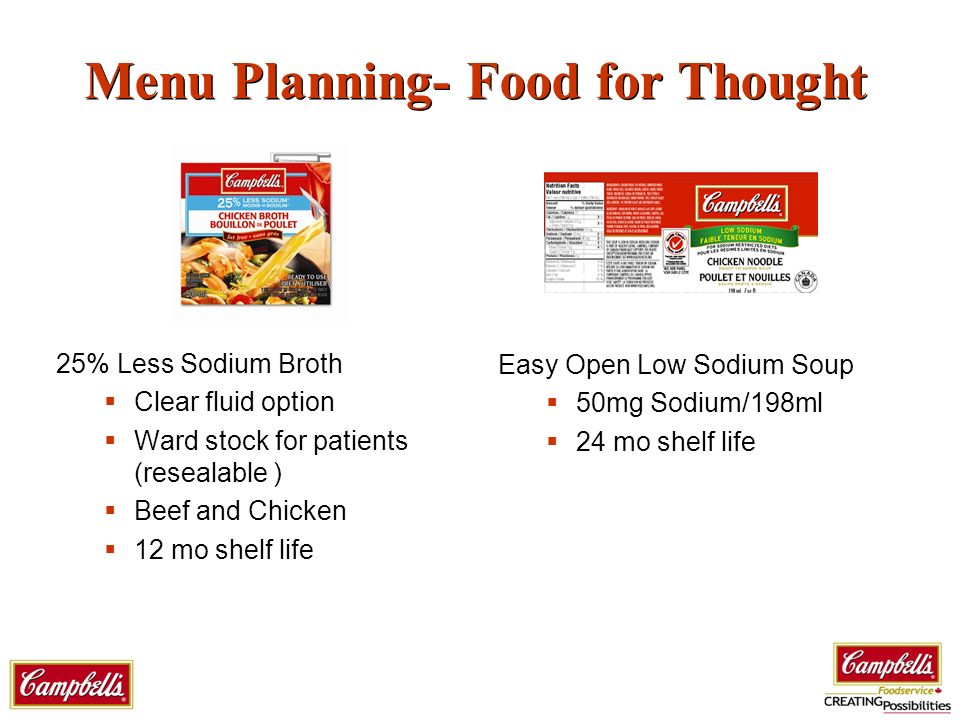 Menu Planning- Food for Thought 25% Less Sodium Broth Clear fluid option Ward stock for patients (resealable ) Beef and Chicken 12 mo shelf life Easy