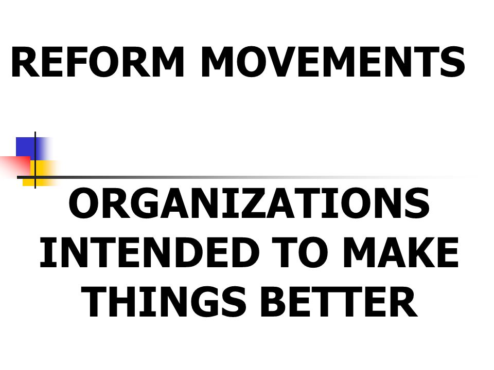 REFORM MOVEMENTS ORGANIZATIONS INTENDED TO MAKE THINGS BETTER