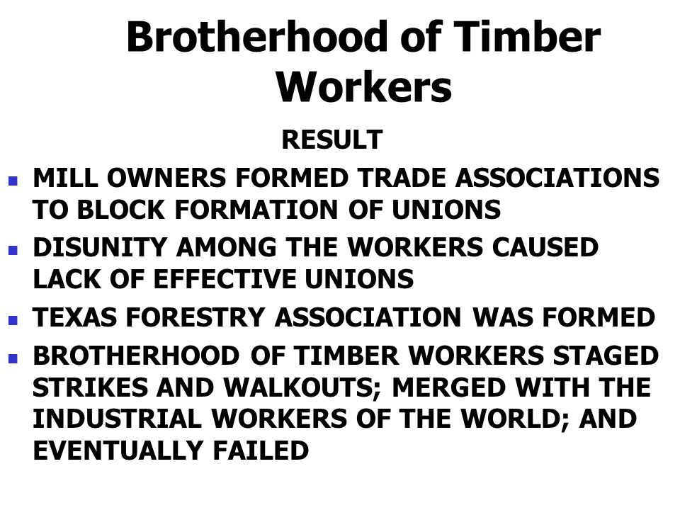Brotherhood of Timber Workers RESULT MILL OWNERS FORMED TRADE ASSOCIATIONS TO BLOCK FORMATION OF UNIONS DISUNITY AMONG THE WORKERS CAUSED LACK OF EFFE