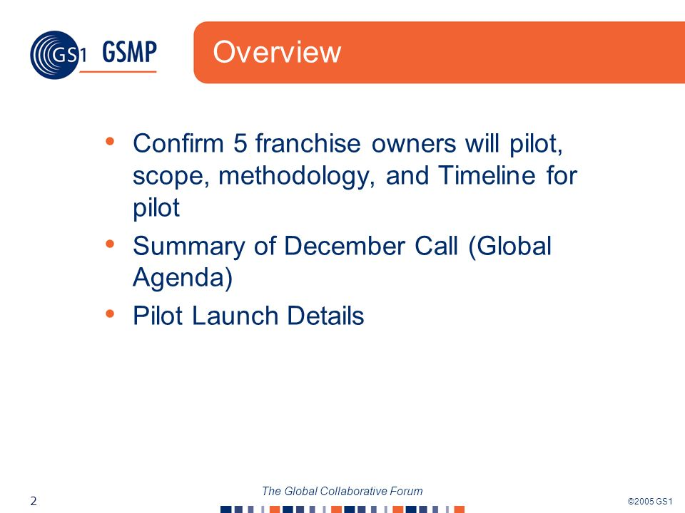 ©2005 GS1 2 The Global Collaborative Forum Overview Confirm 5 franchise owners will pilot, scope, methodology, and Timeline for pilot Summary of December Call (Global Agenda) Pilot Launch Details