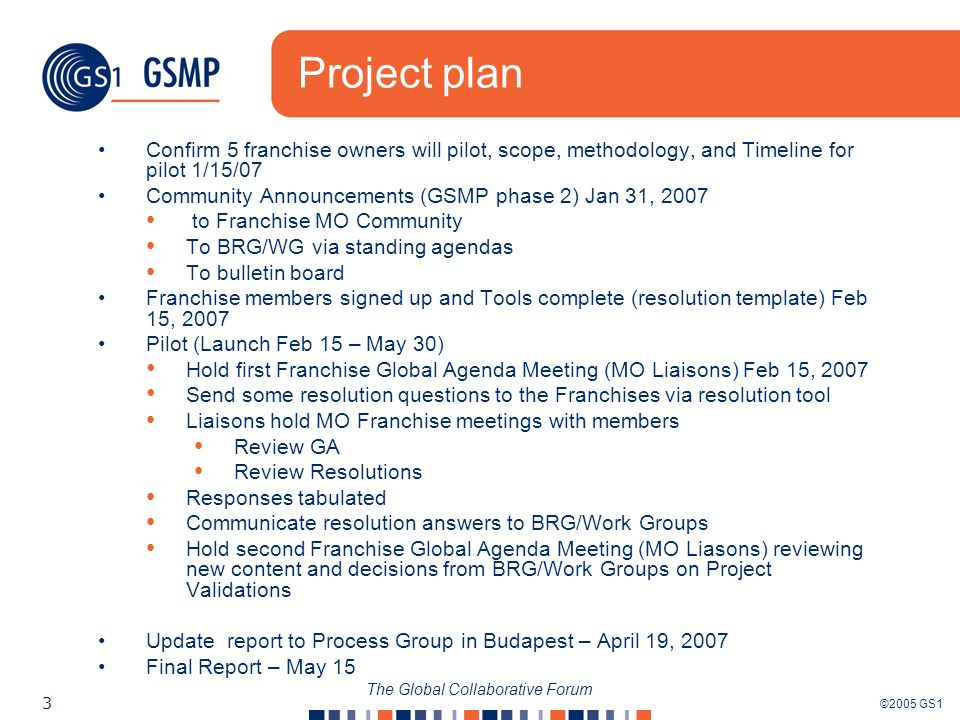 ©2005 GS1 3 The Global Collaborative Forum Project plan Confirm 5 franchise owners will pilot, scope, methodology, and Timeline for pilot 1/15/07 Community Announcements (GSMP phase 2) Jan 31, 2007 to Franchise MO Community To BRG/WG via standing agendas To bulletin board Franchise members signed up and Tools complete (resolution template) Feb 15, 2007 Pilot (Launch Feb 15 – May 30) Hold first Franchise Global Agenda Meeting (MO Liaisons) Feb 15, 2007 Send some resolution questions to the Franchises via resolution tool Liaisons hold MO Franchise meetings with members Review GA Review Resolutions Responses tabulated Communicate resolution answers to BRG/Work Groups Hold second Franchise Global Agenda Meeting (MO Liasons) reviewing new content and decisions from BRG/Work Groups on Project Validations Update report to Process Group in Budapest – April 19, 2007 Final Report – May 15