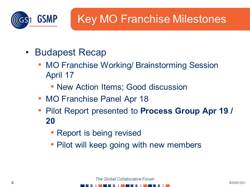 ©2005 GS1 4 The Global Collaborative Forum Key MO Franchise Milestones Budapest Recap MO Franchise Working/ Brainstorming Session April 17 New Action Items; Good discussion MO Franchise Panel Apr 18 Pilot Report presented to Process Group Apr 19 / 20 Report is being revised Pilot will keep going with new members