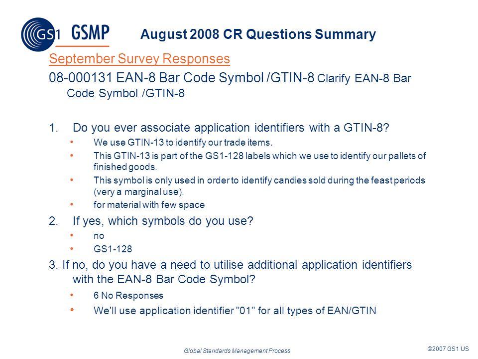 Global Standards Management Process ©2007 GS1 US August 2008 CR Questions Summary September Survey Responses 08-000131 EAN-8 Bar Code Symbol /GTIN-8 C