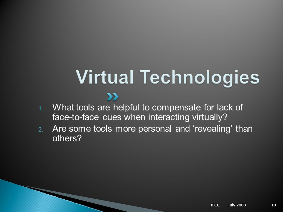 1. What tools are helpful to compensate for lack of face-to-face cues when interacting virtually.