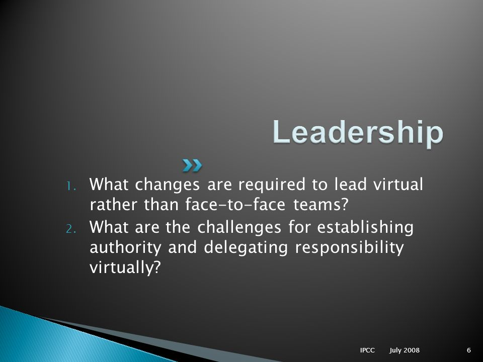 1. What changes are required to lead virtual rather than face-to-face teams? 2. What are the challenges for establishing authority and delegating resp