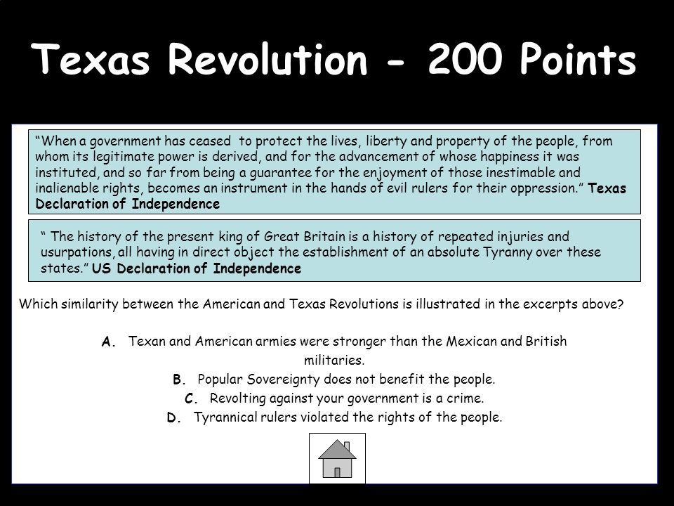 Texas Revolution - 200 Points Question Which similarity between the American and Texas Revolutions is illustrated in the excerpts above? A. Texan and