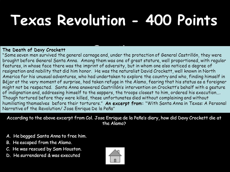 Texas Revolution - 400 Points Question According to the above excerpt from Col. Jose Enrique de la Peñas diary, how did Davy Crockett die at the Alamo