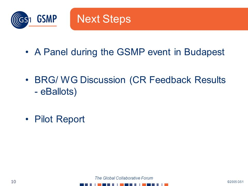 ©2005 GS1 10 The Global Collaborative Forum Next Steps A Panel during the GSMP event in Budapest BRG/ WG Discussion (CR Feedback Results - eBallots) Pilot Report
