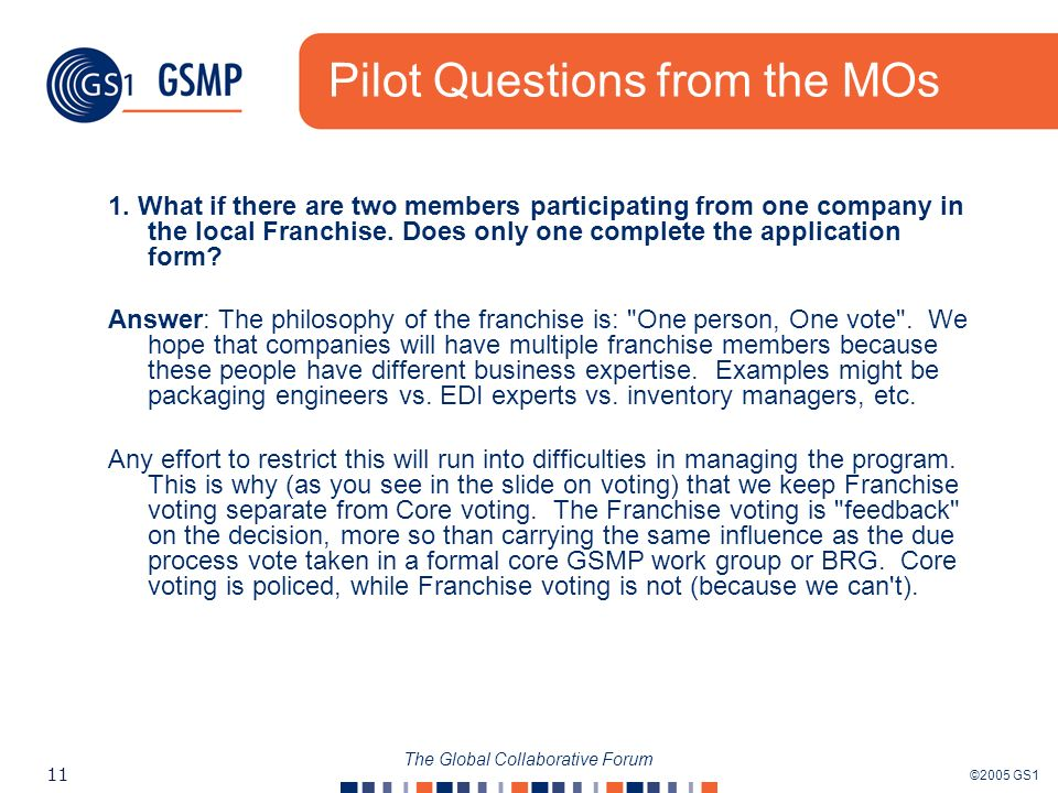 ©2005 GS1 11 The Global Collaborative Forum Pilot Questions from the MOs 1.