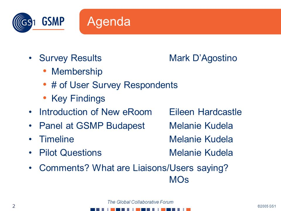©2005 GS1 2 The Global Collaborative Forum Agenda Survey Results Mark DAgostino Membership # of User Survey Respondents Key Findings Introduction of New eRoomEileen Hardcastle Panel at GSMP BudapestMelanie Kudela Timeline Melanie Kudela Pilot QuestionsMelanie Kudela Comments.
