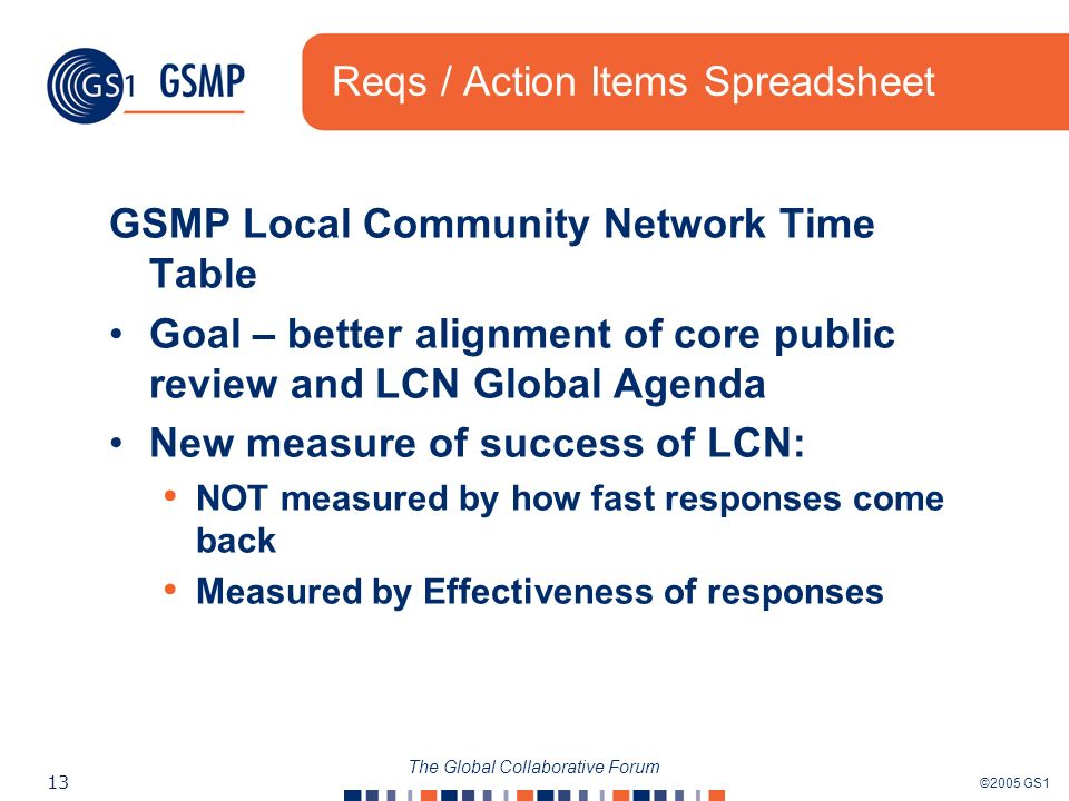 ©2005 GS1 13 The Global Collaborative Forum Reqs / Action Items Spreadsheet GSMP Local Community Network Time Table Goal – better alignment of core pu