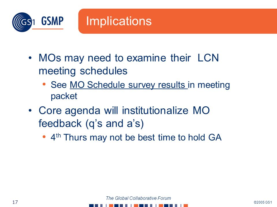 ©2005 GS1 17 The Global Collaborative Forum Implications MOs may need to examine their LCN meeting schedules See MO Schedule survey results in meeting