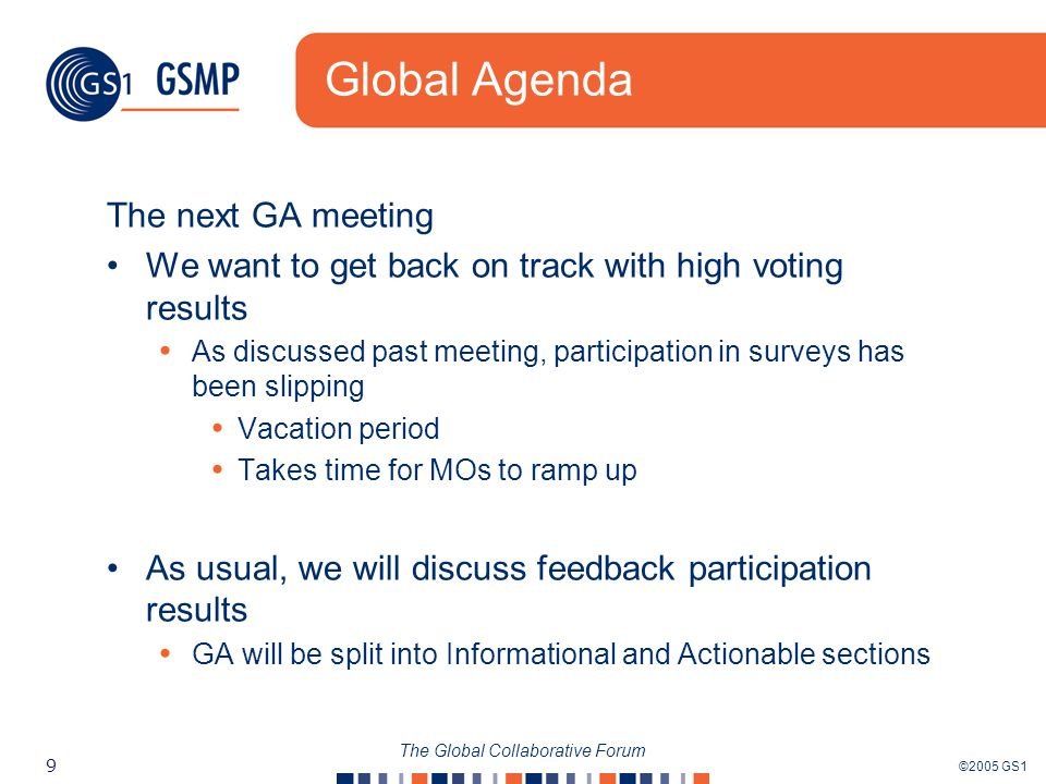 ©2005 GS1 9 The Global Collaborative Forum Global Agenda The next GA meeting We want to get back on track with high voting results As discussed past meeting, participation in surveys has been slipping Vacation period Takes time for MOs to ramp up As usual, we will discuss feedback participation results GA will be split into Informational and Actionable sections