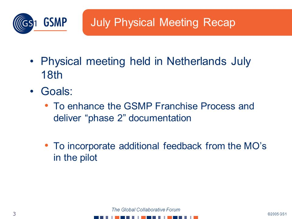 ©2005 GS1 3 The Global Collaborative Forum July Physical Meeting Recap Physical meeting held in Netherlands July 18th Goals: To enhance the GSMP Franchise Process and deliver phase 2 documentation To incorporate additional feedback from the MOs in the pilot