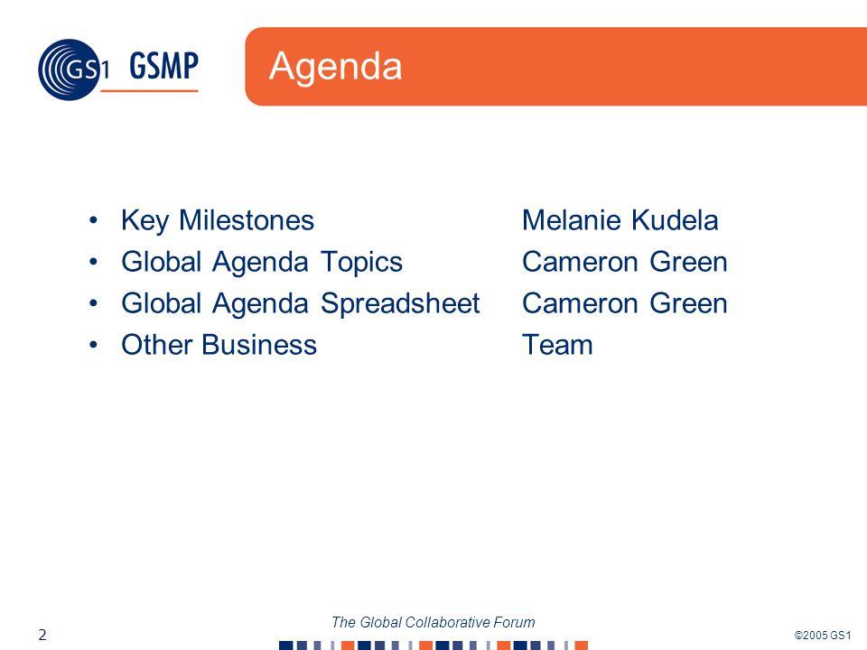 ©2005 GS1 2 The Global Collaborative Forum Agenda Key MilestonesMelanie Kudela Global Agenda TopicsCameron Green Global Agenda Spreadsheet Cameron Green Other Business Team