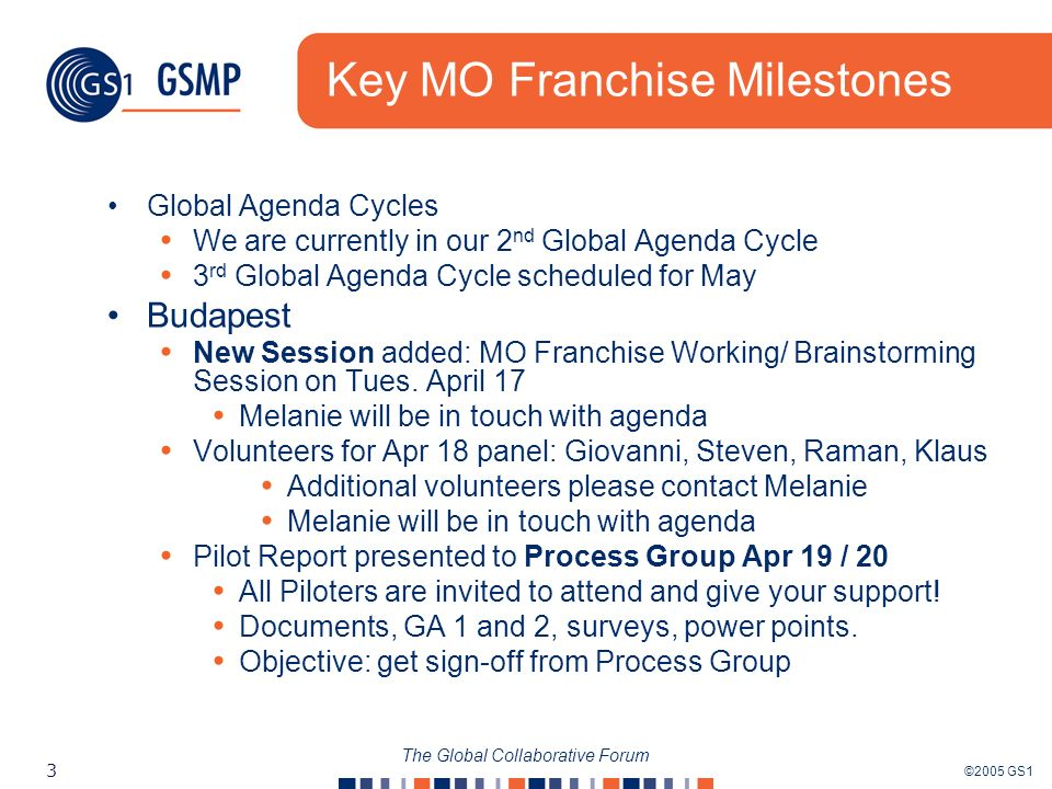 ©2005 GS1 3 The Global Collaborative Forum Key MO Franchise Milestones Global Agenda Cycles We are currently in our 2 nd Global Agenda Cycle 3 rd Global Agenda Cycle scheduled for May Budapest New Session added: MO Franchise Working/ Brainstorming Session on Tues.