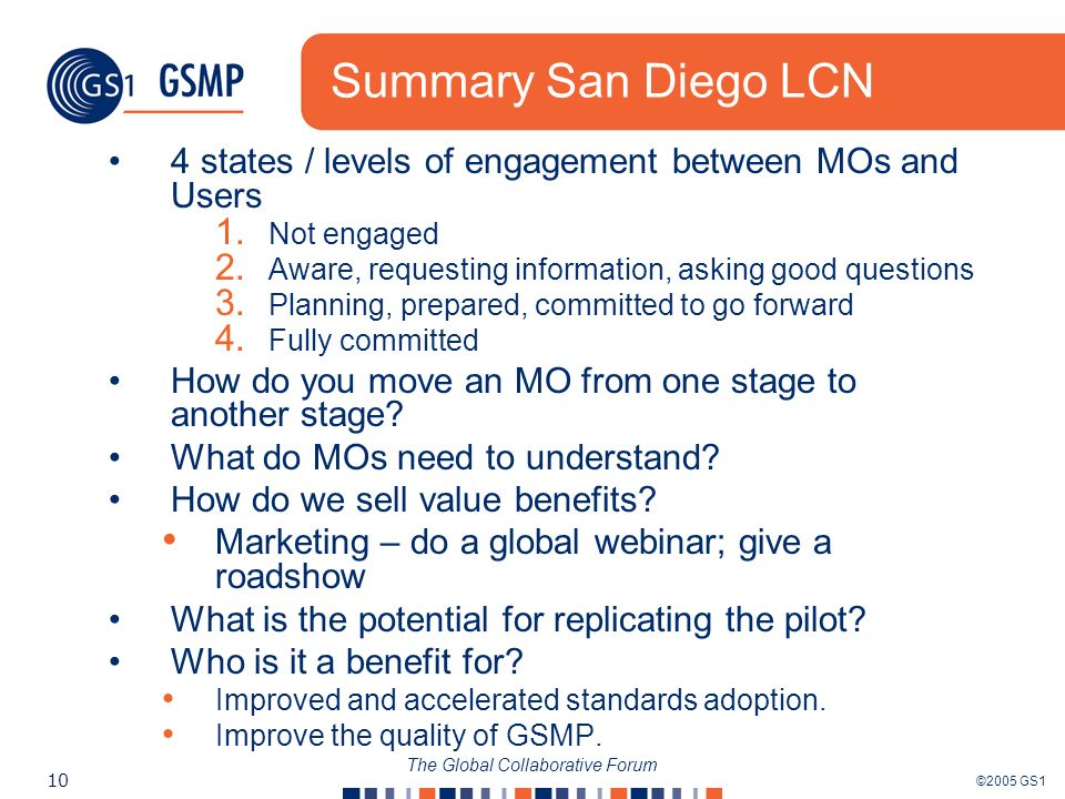 ©2005 GS1 10 The Global Collaborative Forum Summary San Diego LCN 4 states / levels of engagement between MOs and Users 1.