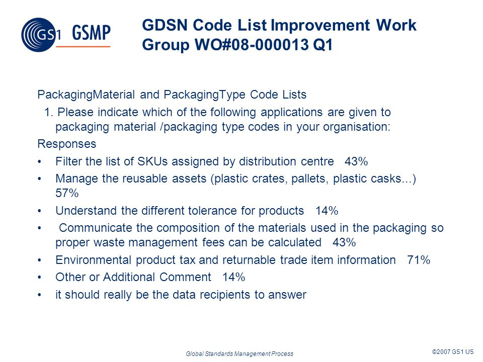 Global Standards Management Process ©2007 GS1 US Works as Documented Key MO readiness criteria Resolve representation dilemma LCN designed to bring community to table Multi-Industry