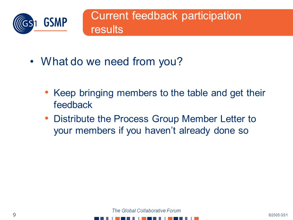 ©2005 GS1 9 The Global Collaborative Forum Current feedback participation results What do we need from you? Keep bringing members to the table and get